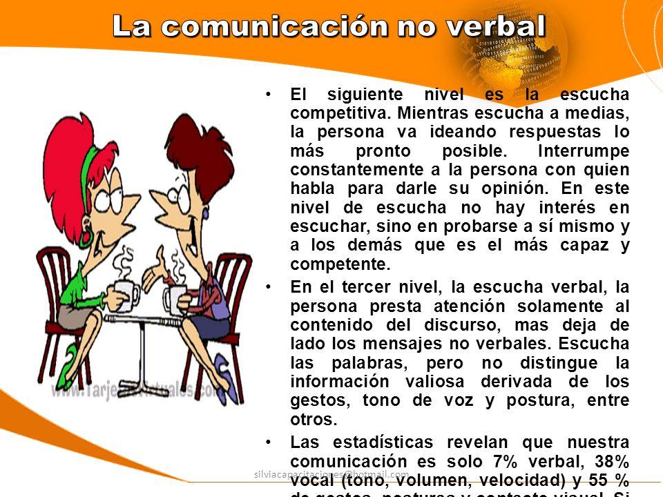 El último nivel de la escucha empática, esto es, cuando escuchamos la parte verbal y percibimos la no verbal y las emociones.