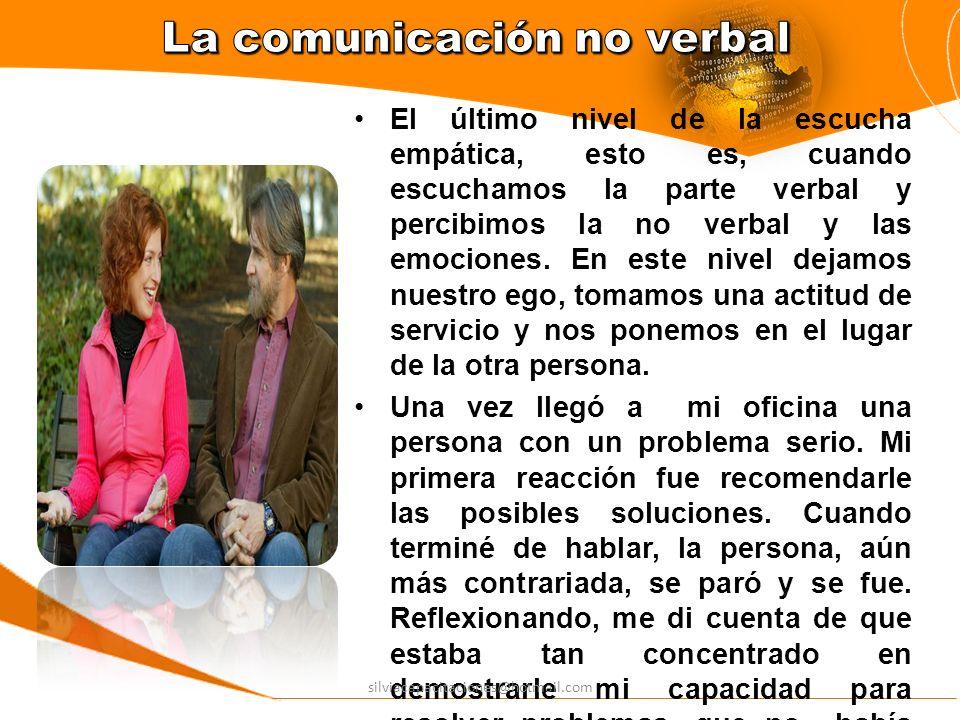 El último nivel de la escucha empática, esto es, cuando escuchamos la parte verbal y percibimos la no verbal y las emociones. En este nivel dejamos nu