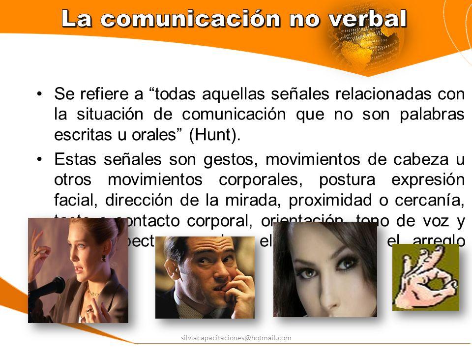 silviacapacitaciones@hotmail.com La comunicación no verbal es aprendida y, por consiguiente, no ocurre al azar, sino sigue reglas socio-culturales.
