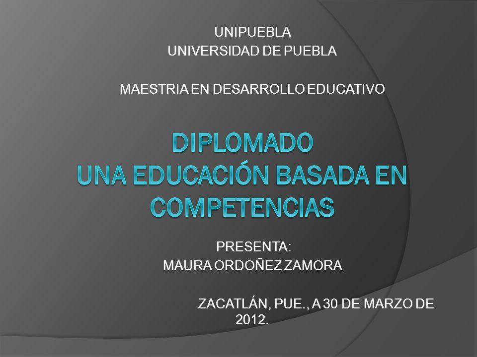 UNIPUEBLA UNIVERSIDAD DE PUEBLA MAESTRIA EN DESARROLLO EDUCATIVO PRESENTA: MAURA ORDOÑEZ ZAMORA ZACATLÁN, PUE., A 30 DE MARZO DE 2012.