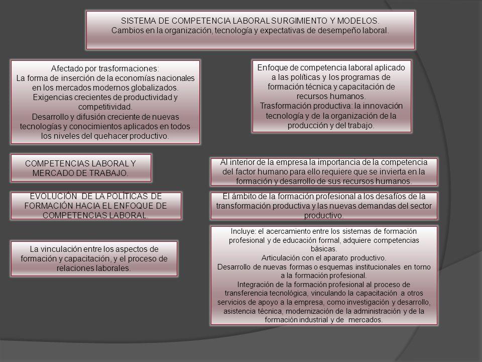 SISTEMA DE COMPETENCIA LABORAL SURGIMIENTO Y MODELOS. Cambios en la organización, tecnología y expectativas de desempeño laboral. Afectado por trasfor