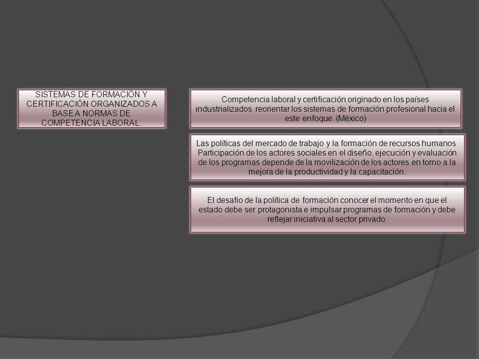 SISTEMAS DE FORMACIÓN Y CERTIFICACIÓN ORGANIZADOS A BASE A NORMAS DE COMPETENCIA LABORAL. Competencia laboral y certificación originado en los países
