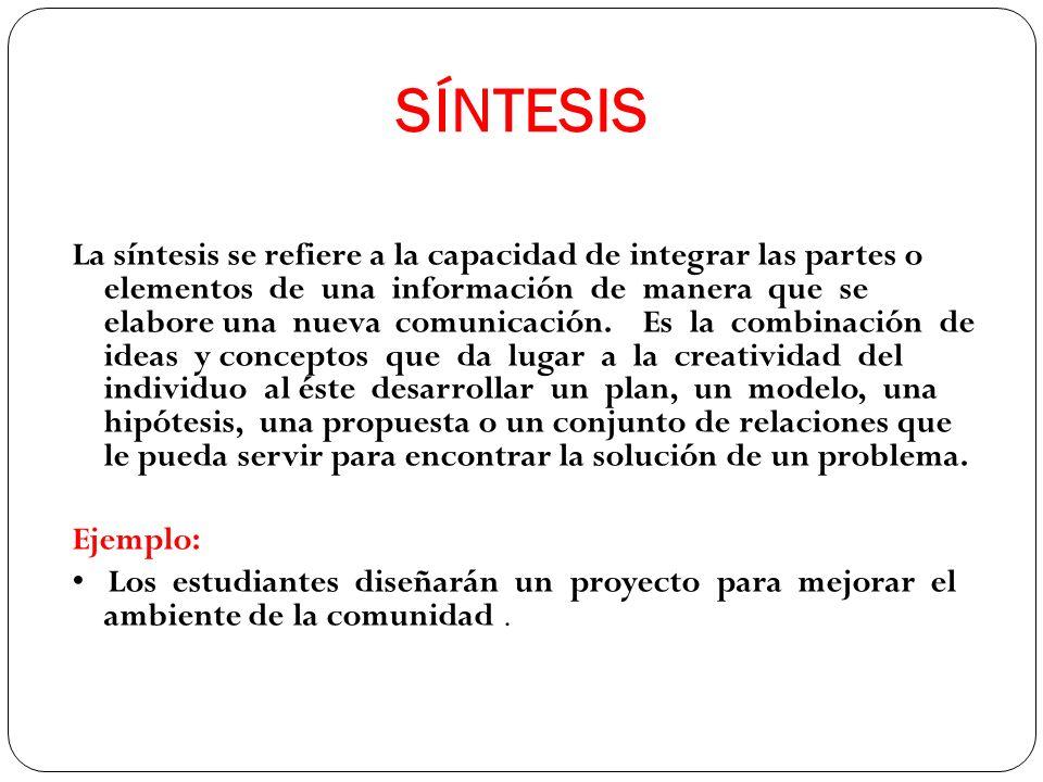 La síntesis se refiere a la capacidad de integrar las partes o elementos de una información de manera que se elabore una nueva comunicación. Es la com