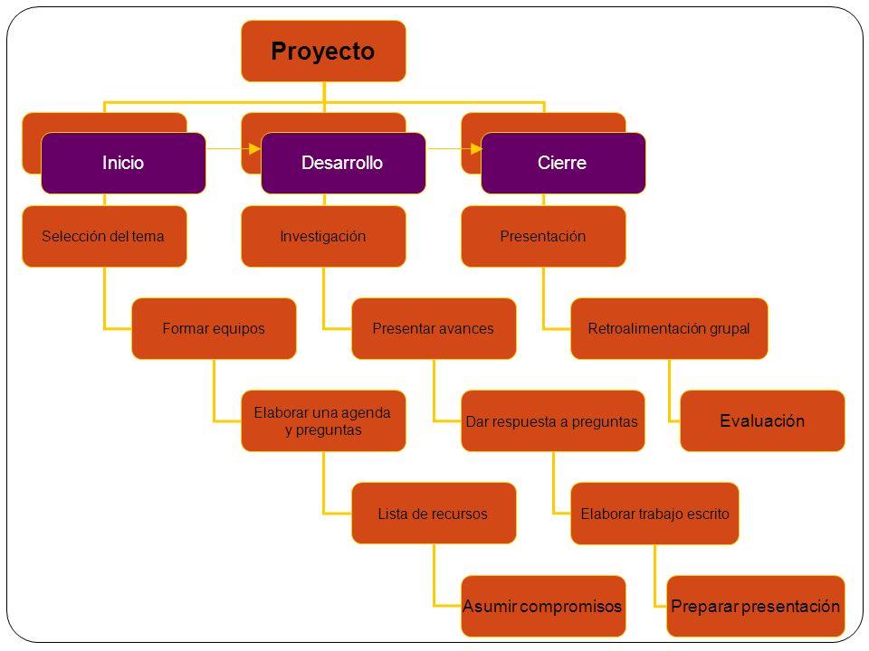 Proyecto InicioDesarrolloCierre Selección del tema Formar equipos Elaborar una agenda y preguntas Lista de recursos Asumir compromisos Investigación P