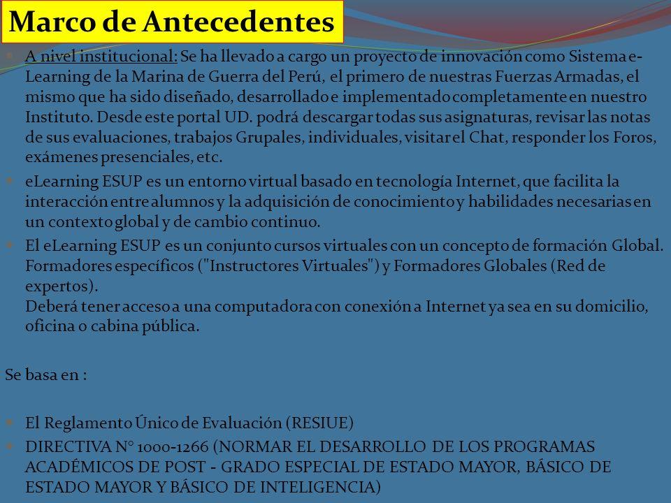 A nivel institucional: Se ha llevado a cargo un proyecto de innovación como Sistema e- Learning de la Marina de Guerra del Perú, el primero de nuestras Fuerzas Armadas, el mismo que ha sido diseñado, desarrollado e implementado completamente en nuestro Instituto.