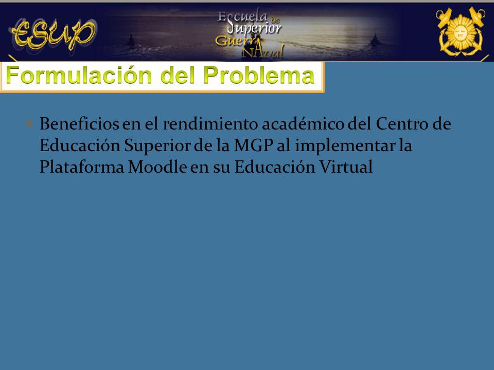 Beneficios en el rendimiento académico del Centro de Educación Superior de la MGP al implementar la Plataforma Moodle en su Educación Virtual