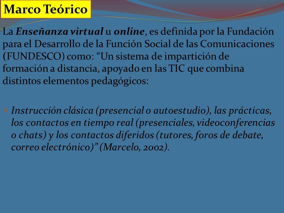 La Enseñanza virtual u online, es definida por la Fundación para el Desarrollo de la Función Social de las Comunicaciones (FUNDESCO) como: Un sistema de impartición de formación a distancia, apoyado en las TIC que combina distintos elementos pedagógicos: Instrucción clásica (presencial o autoestudio), las prácticas, los contactos en tiempo real (presenciales, videoconferencias o chats) y los contactos diferidos (tutores, foros de debate, correo electrónico) (Marcelo, 2002).