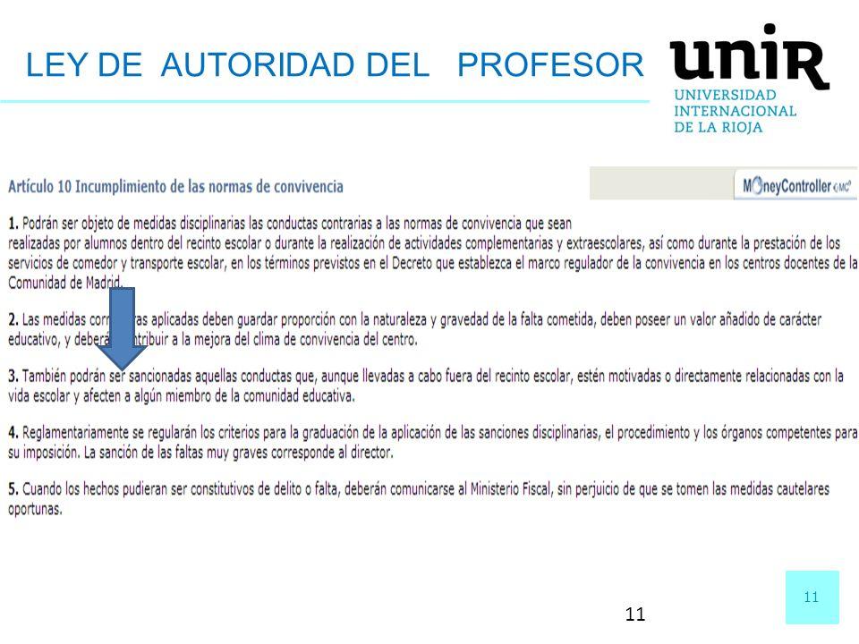 11 LEY DE AUTORIDAD DEL PROFESOR