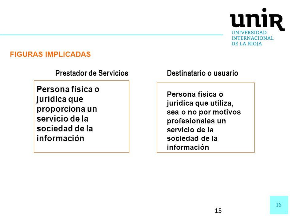 15 FIGURAS IMPLICADAS Prestador de Servicios Persona física o jurídica que proporciona un servicio de la sociedad de la información Destinatario o usu