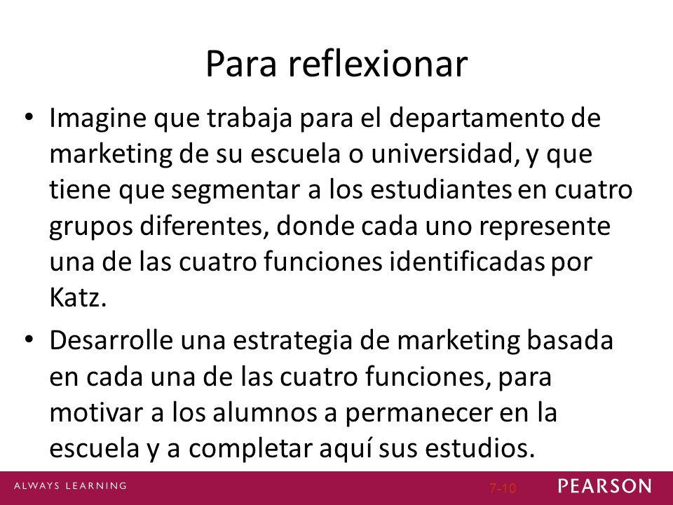 7-10 Para reflexionar Imagine que trabaja para el departamento de marketing de su escuela o universidad, y que tiene que segmentar a los estudiantes e