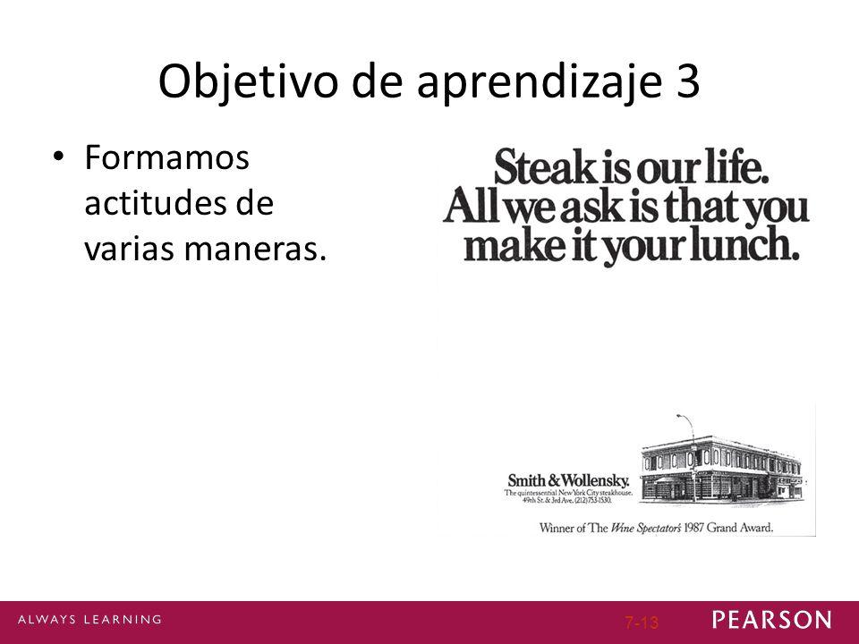 Objetivo de aprendizaje 3 Formamos actitudes de varias maneras. 7-13
