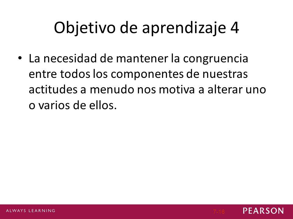 Objetivo de aprendizaje 4 La necesidad de mantener la congruencia entre todos los componentes de nuestras actitudes a menudo nos motiva a alterar uno o varios de ellos.