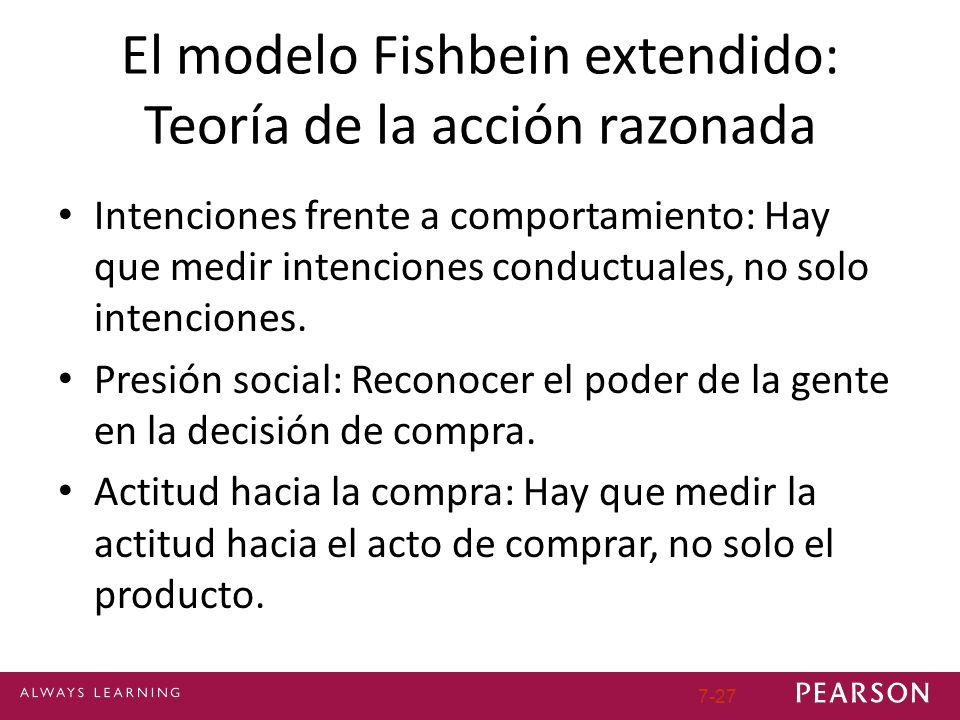 7-27 El modelo Fishbein extendido: Teoría de la acción razonada Intenciones frente a comportamiento: Hay que medir intenciones conductuales, no solo intenciones.