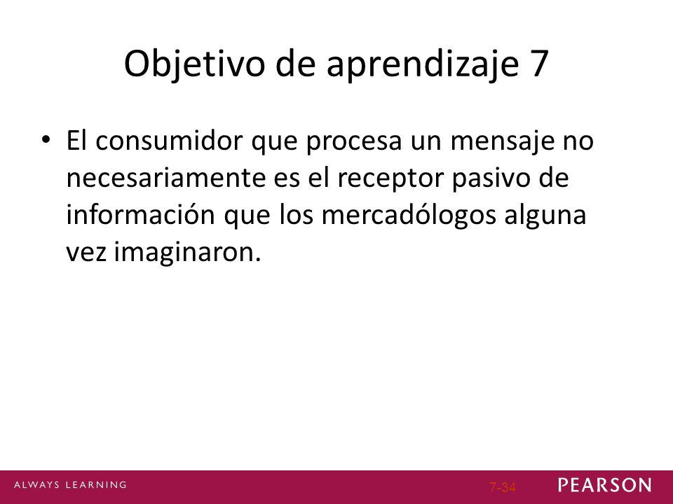 Objetivo de aprendizaje 7 El consumidor que procesa un mensaje no necesariamente es el receptor pasivo de información que los mercadólogos alguna vez