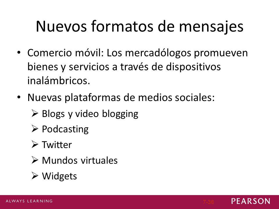 7-36 Nuevos formatos de mensajes Comercio móvil: Los mercadólogos promueven bienes y servicios a través de dispositivos inalámbricos. Nuevas plataform