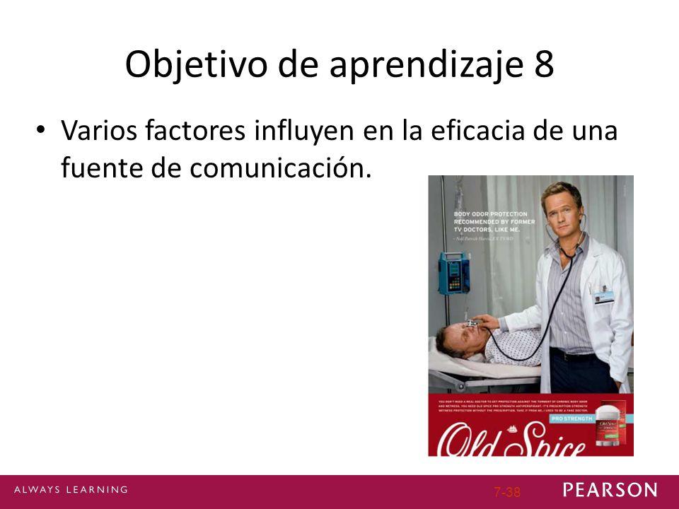 Objetivo de aprendizaje 8 Varios factores influyen en la eficacia de una fuente de comunicación. 7-38