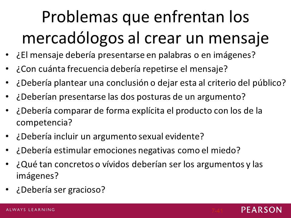 7-41 Problemas que enfrentan los mercadólogos al crear un mensaje ¿El mensaje debería presentarse en palabras o en imágenes.