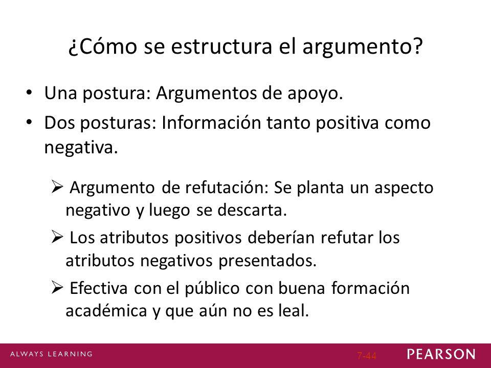 7-44 ¿Cómo se estructura el argumento? Una postura: Argumentos de apoyo. Dos posturas: Información tanto positiva como negativa. Argumento de refutaci