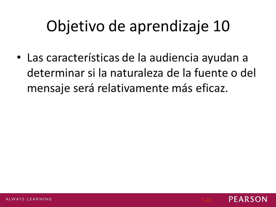 Objetivo de aprendizaje 10 Las características de la audiencia ayudan a determinar si la naturaleza de la fuente o del mensaje será relativamente más eficaz.