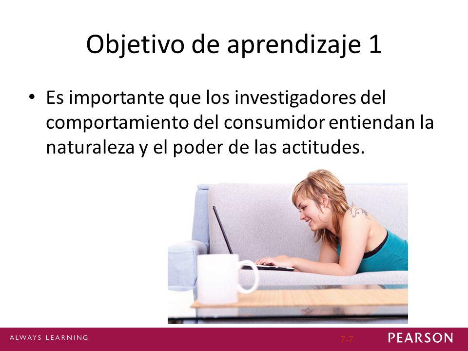 Objetivo de aprendizaje 1 Es importante que los investigadores del comportamiento del consumidor entiendan la naturaleza y el poder de las actitudes.