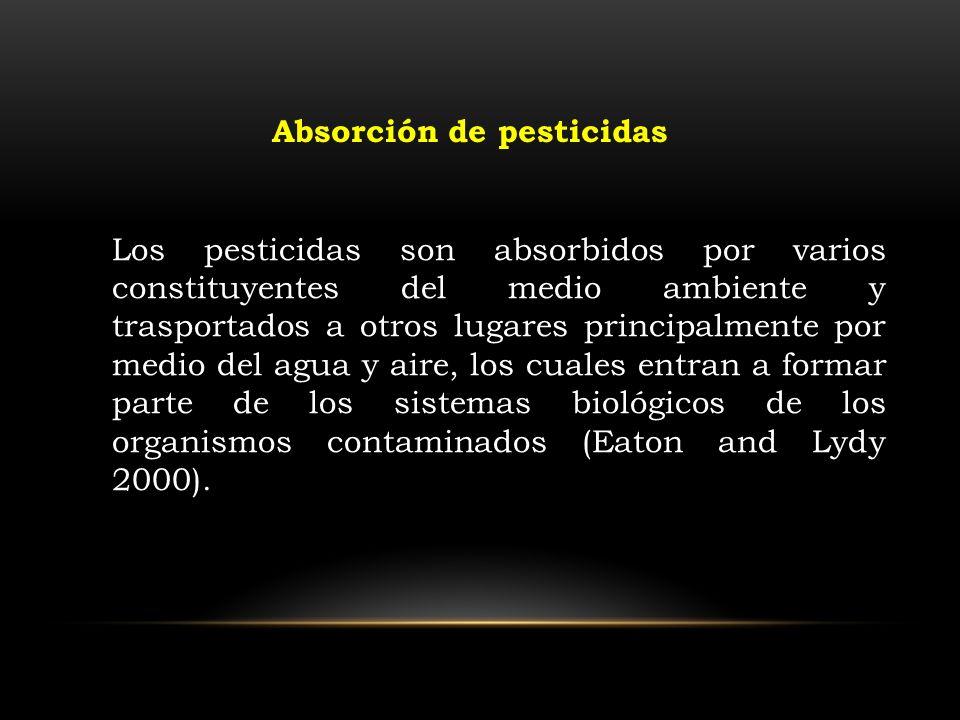 Los pesticidas son absorbidos por varios constituyentes del medio ambiente y trasportados a otros lugares principalmente por medio del agua y aire, lo
