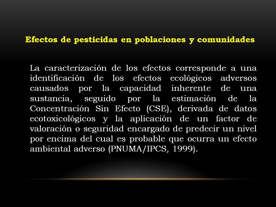 La caracterización de los efectos corresponde a una identificación de los efectos ecológicos adversos causados por la capacidad inherente de una susta