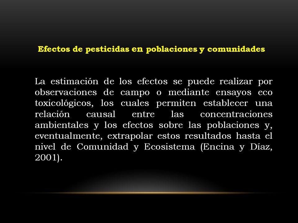 La estimación de los efectos se puede realizar por observaciones de campo o mediante ensayos eco toxicológicos, los cuales permiten establecer una rel