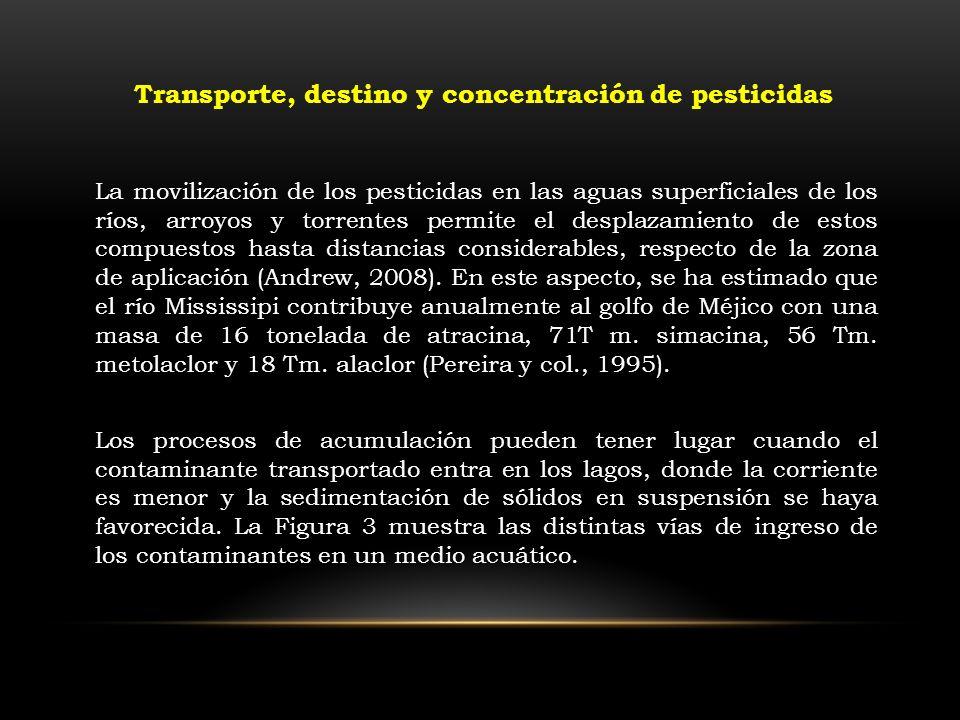Transporte, destino y concentración de pesticidas La movilización de los pesticidas en las aguas superficiales de los ríos, arroyos y torrentes permit