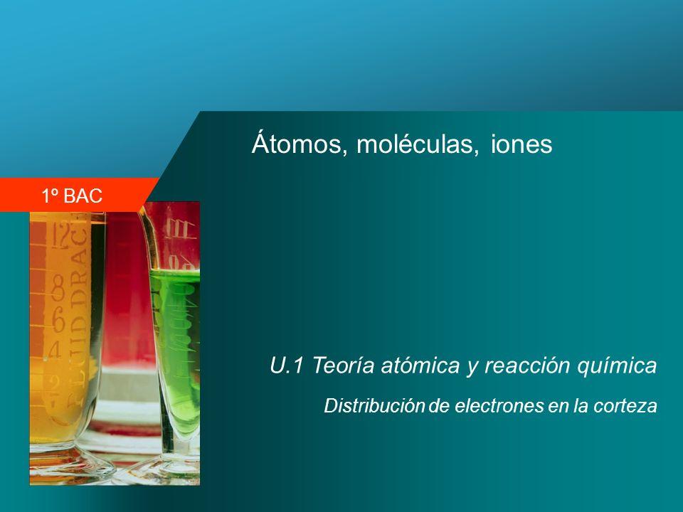 1º BAC Átomos, moléculas, iones U.1 Teoría atómica y reacción química Distribución de electrones en la corteza