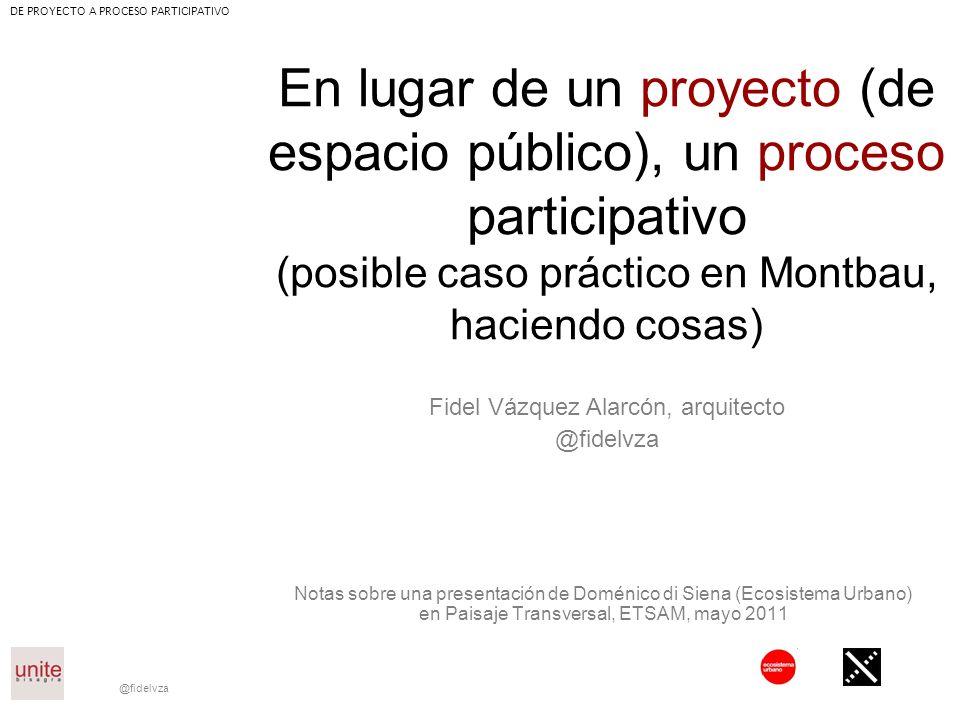 @fidelvza En lugar de un proyecto (de espacio público), un proceso participativo (posible caso práctico en Montbau, haciendo cosas) Notas sobre una pr