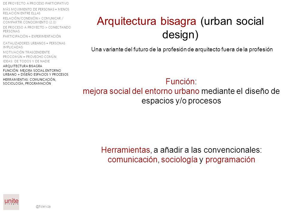 @fidelvza Función: mejora social del entorno urbano mediante el diseño de espacios y/o procesos Arquitectura bisagra (urban social design) Una variant