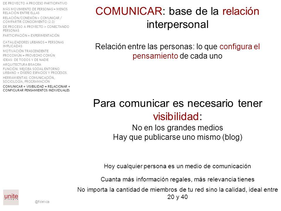 @fidelvza COMUNICAR: base de la relación interpersonal Para comunicar es necesario tener visibilidad: No en los grandes medios Hay que publicarse uno