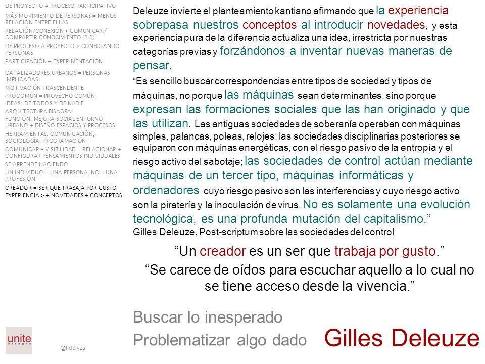 @fidelvza La participación ciudadana debe ser institucional, no sólo reivindicativa El político debe estar fuera del proceso pero es el que finalmente decide En participación lo importante no es lo que se vota, sino el proceso y la gente que se implica en acciones DE PROYECTO A PROCESO PARTICIPATIVO MÁS MOVIMIENTO DE PERSONAS = MENOS RELACIÓN ENTRE ELLAS RELACIÓN/CONEXIÓN > COMUNICAR / COMPARTIR CONOCIMIENTO (2.0) DE PROCESO A PROYECTO > CONECTANDO PERSONAS PARTICIPACIÓN + EXPERIMENTACIÓN CATALIZADORES URBANOS = PERSONAS IMPLICADAS MOTIVACIÓN TRASCENDENTE PROCOMÚN = PROVECHO COMÚN IDEAS: DE TODOS Y DE NADIE ARQUITECTURA BISAGRA FUNCIÓN: MEJORA SOCIAL ENTORNO URBANO + DISEÑO ESPACIOS Y PROCESOS HERRAMIENTAS: COMUNICACIÓN, SOCIOLOGÍA, PROGRAMACIÓN COMUNICAR + VISIBILIDAD = RELACIONAR + CONFIGURAR PENSAMIENTOS INDIVIDUALES SE APRENDE HACIENDO UN INDIVIDUO = UNA PERSONA, NO = UNA PROFESIÓN CREADOR = SER QUE TRABAJA POR GUSTO EXPERIENCIA > + NOVEDADES + CONCEPTOS PARTICIPACIÓN NO SOLO REIVINDICATIVA PARTICIPACIÓN = PROCESO + GENTE IMPLICADA POLÍTICO: FUERA DEL PROCESO + DECISIÓN FINAL
