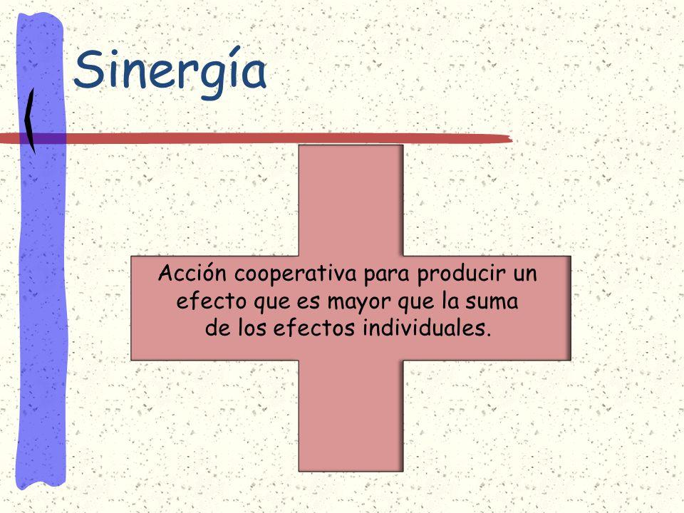 Sinergía Acción cooperativa para producir un efecto que es mayor que la suma de los efectos individuales.