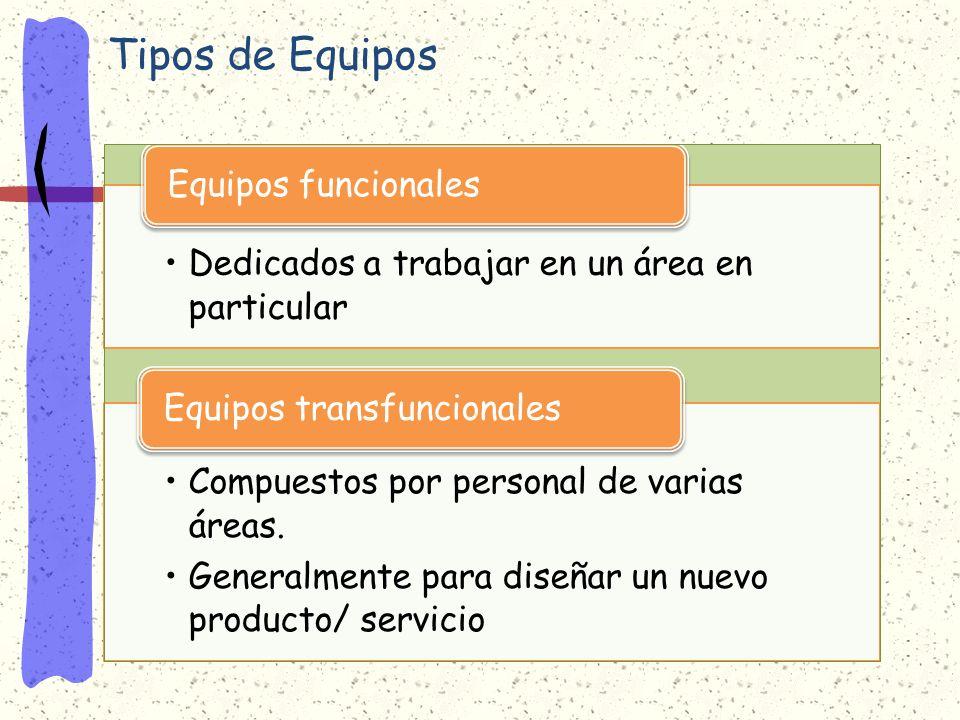 Tipos de Equipos Dedicados a trabajar en un área en particular Equipos funcionales Compuestos por personal de varias áreas.