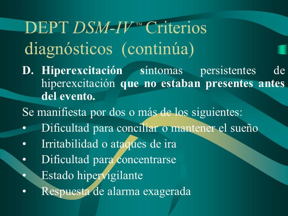 DEPT DSM-IV Criterios diagnósticos (continúa) D.Hiperexcitación síntomas persistentes de hiperexcitación que no estaban presentes antes del evento. Se