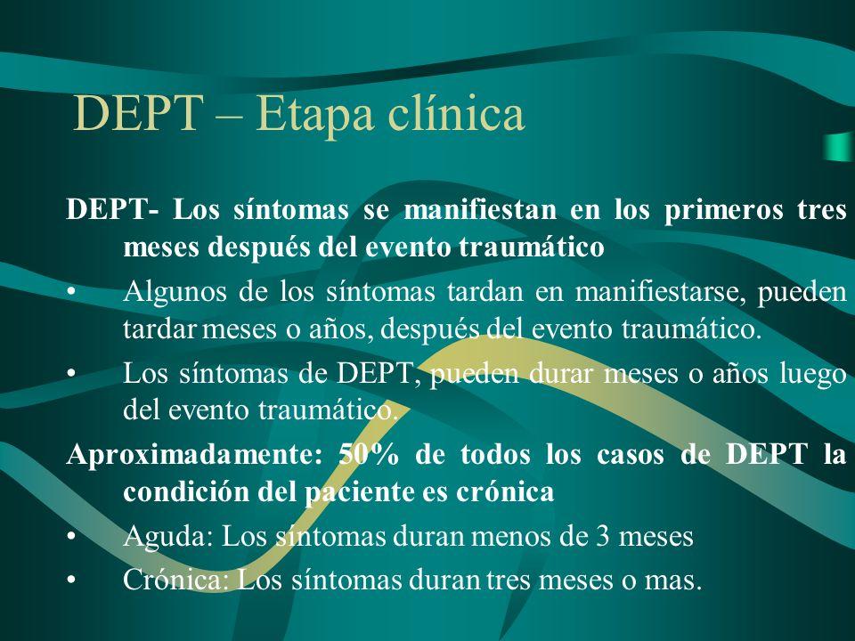 DEPT – Etapa clínica DEPT- Los síntomas se manifiestan en los primeros tres meses después del evento traumático Algunos de los síntomas tardan en mani