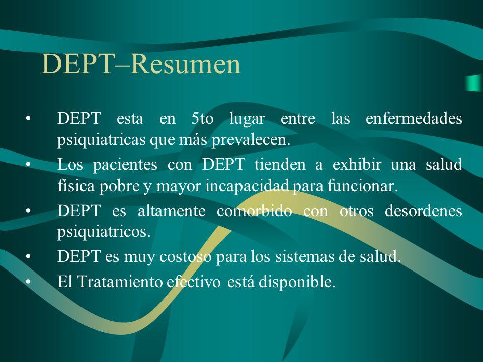 DEPT–Resumen DEPT esta en 5to lugar entre las enfermedades psiquiatricas que más prevalecen. Los pacientes con DEPT tienden a exhibir una salud física