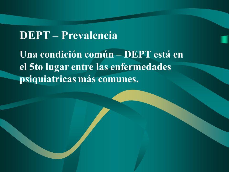 DEPT – Diagnostico Diferencial Durante un estudio realizado entre pacientes con síntomas de depressión o trastornos de ansiedad, se descubrió que el 38.5% estabán atravesando un episodio de DEPT según los criterios de diagnóstico.