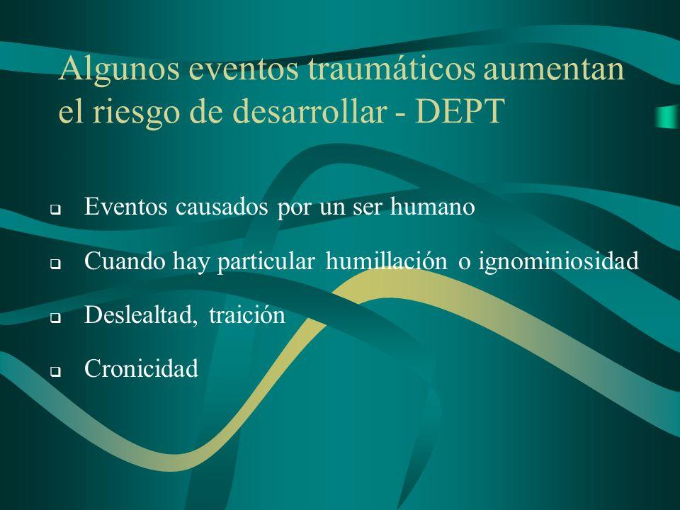 Algunos eventos traumáticos aumentan el riesgo de desarrollar - DEPT Eventos causados por un ser humano Cuando hay particular humillación o ignominios