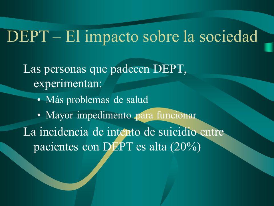 DEPT DSM-IV Criterios diagnósticos A.La persona ha sido expuesta a un evento traumático B.La persona revive el evento traumático C.La persona evita persistentemente los estímulos asociados con el evento traumático y refleja insensibilización de la respuesta general D.La persona desmuestra síntomas persistentes de hiperexcitación la cual no estaba presente antes del evento traumático.