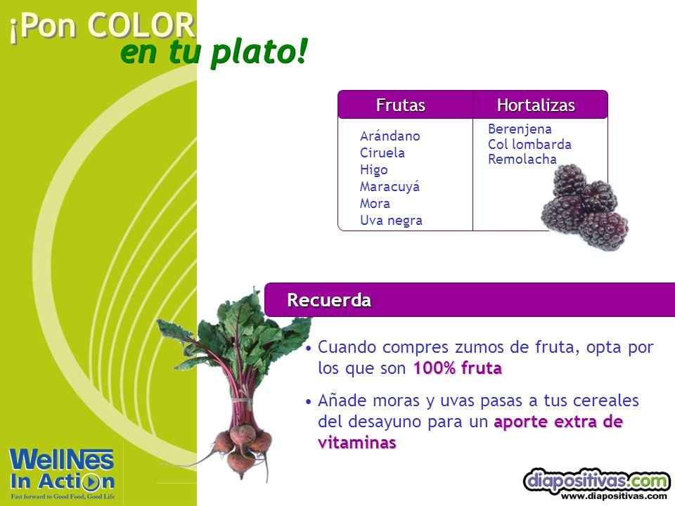 en tu plato! ¡Pon COLOR Recuerda 100% frutaCuando compres zumos de fruta, opta por los que son 100% fruta aporte extra de vitaminasAñade moras y uvas