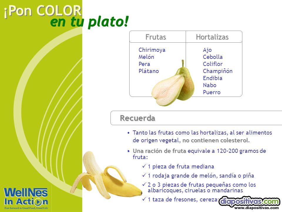 en tu plato! ¡Pon COLOR Recuerda no contienen colesterolTanto las frutas como las hortalizas, al ser alimentos de origen vegetal, no contienen coleste