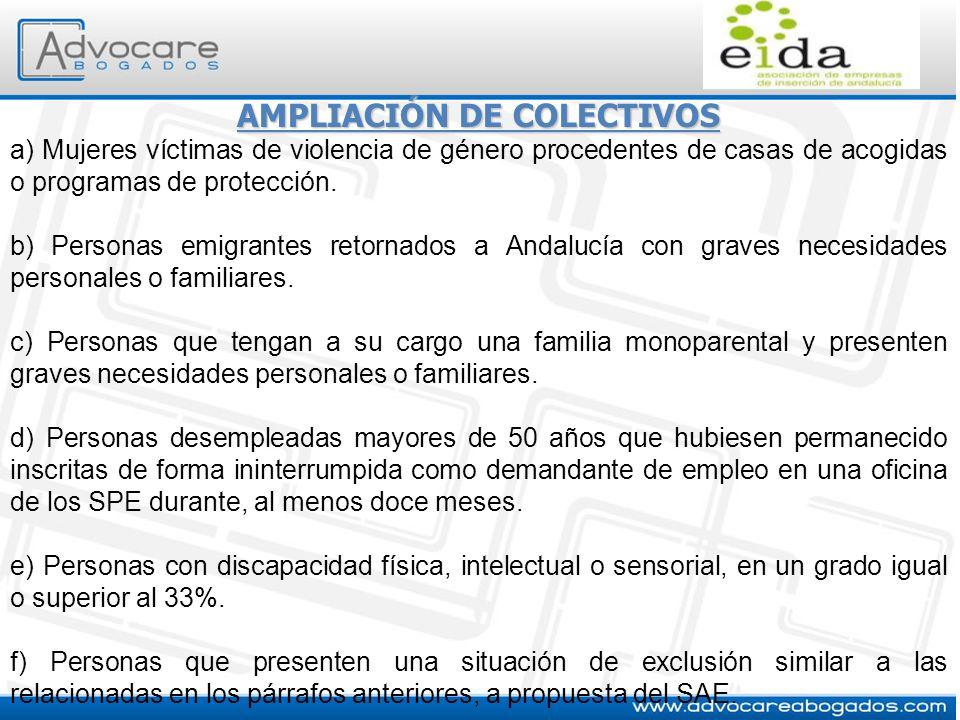 AMPLIACIÓN DE COLECTIVOS a) Mujeres víctimas de violencia de género procedentes de casas de acogidas o programas de protección. b) Personas emigrantes