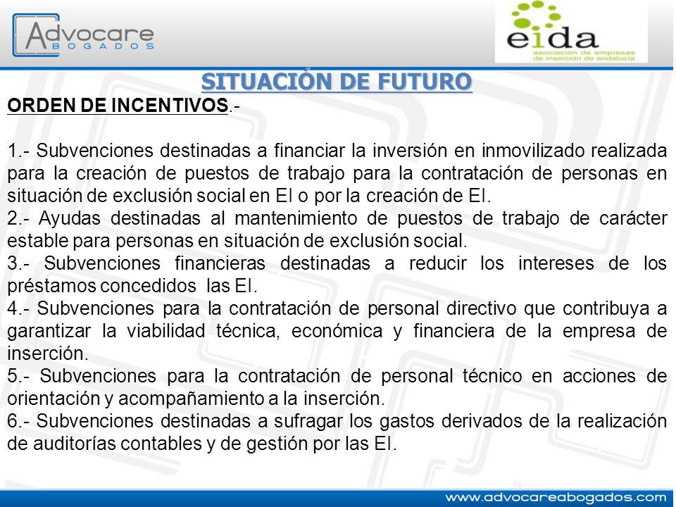 SITUACIÓN DE FUTURO ORDEN DE INCENTIVOS.- 1.- Subvenciones destinadas a financiar la inversión en inmovilizado realizada para la creación de puestos d