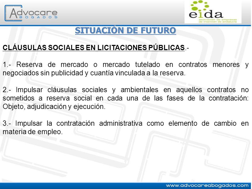 SITUACIÓN DE FUTURO CLÁUSULAS SOCIALES EN LICITACIONES PÚBLICAS.- 1.- Reserva de mercado o mercado tutelado en contratos menores y negociados sin publ