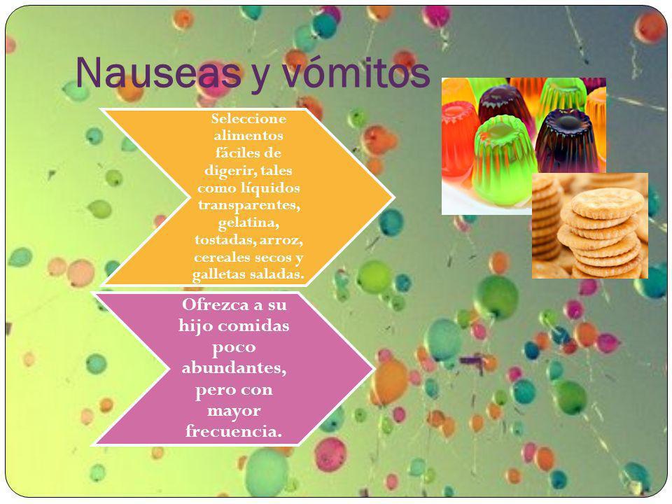 Nauseas y vómitos Seleccione alimentos fáciles de digerir, tales como líquidos transparentes, gelatina, tostadas, arroz, cereales secos y galletas sal