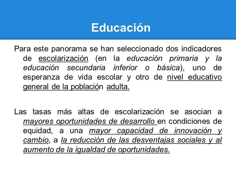 Educación Para este panorama se han seleccionado dos indicadores de escolarización (en la educación primaria y la educación secundaria inferior o bási