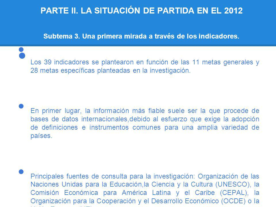 PARTE II. LA SITUACIÓN DE PARTIDA EN EL 2012 Subtema 3. Una primera mirada a través de los indicadores. Los 39 indicadores se plantearon en función de