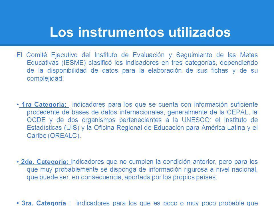 Los instrumentos utilizados El Comité Ejecutivo del Instituto de Evaluación y Seguimiento de las Metas Educativas (IESME) clasificó los indicadores en